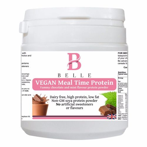 Belle® Vegan Meal time Soya Protein Powder- Chocolate Mint Flavour - dairy-