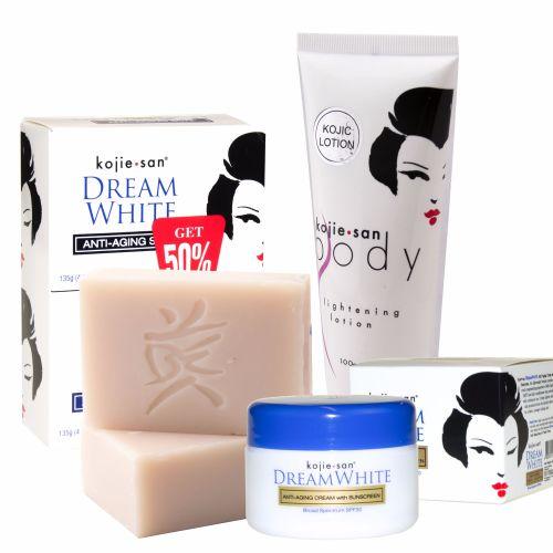 Kojie San Total Dream White Anti-Aging Treatment Set - Soap, Lotion, Cream