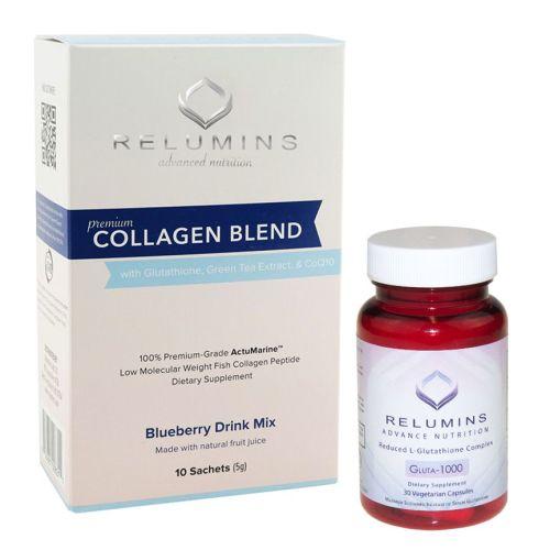 Relumins Premium Collagen 10 Pack and Gluta-1000 30 Capsules