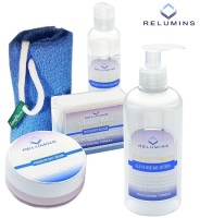 Authentic Relumins Advance White Face & Body Set - TA Stem Cell Premium Day Cream, Intensive Repair Toner, Soap, Leafa Soap Net, & All In One Day Loti