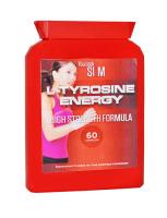 YLS L-Tyrosine Energy High Strength Formula Diet Supplement 60 Pills Flat bottle