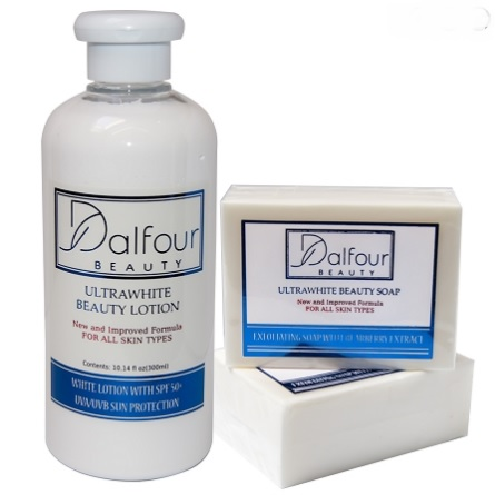 DALFOUR BEAUTY ULTRAWHITE SET - BODY LOTION WITH SPF50+ & SOAP