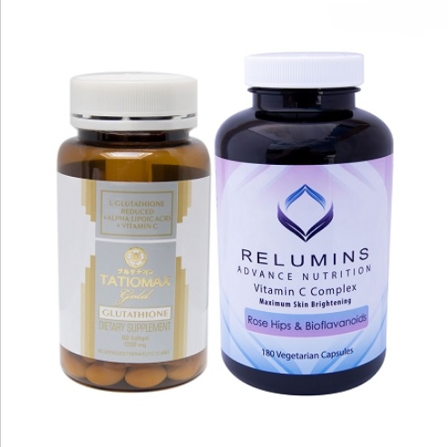 TATIOMAX GOLD GLUTATHIONE WHITENING GEL CAPSULES & RELUMINS VITAMIN C MAX S