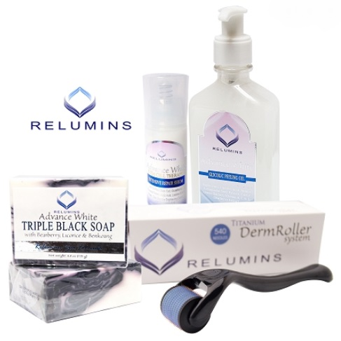 AUTHENTIC RELUMINS ADVANCE WHITE ACNE SCAR & DARK SPOT TREATMENT SET WITH T