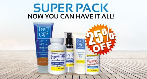 NEW SUPER PACK Includes 1 Bottle of Ivory Caps Pills, 1 Bottle of Vitamin C