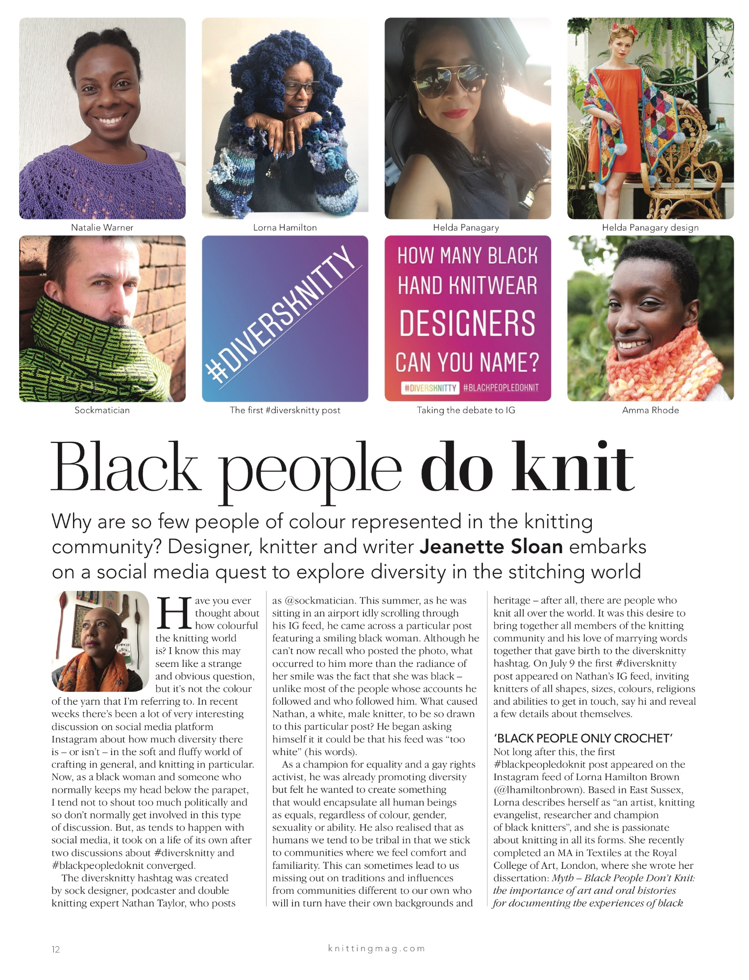 Black people do knit article Knitting Magazine issue 187
