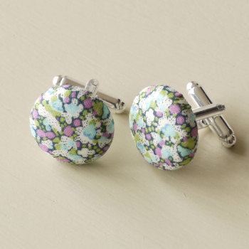 Liberty tana lawn Pepper green silver plated cufflinks