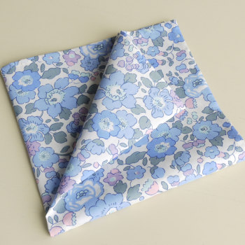Blue floral pocket square - Liberty tana lawn Betsy