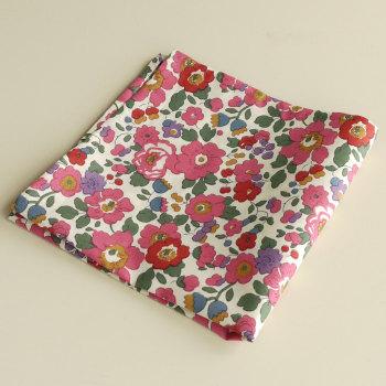 Pink floral pocket square - Liberty tana lawn Betsy