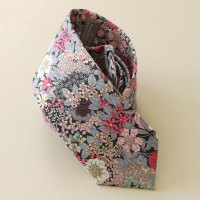 Hand-stitched floral Liberty tana lawn tie - Ciara grey and pink
