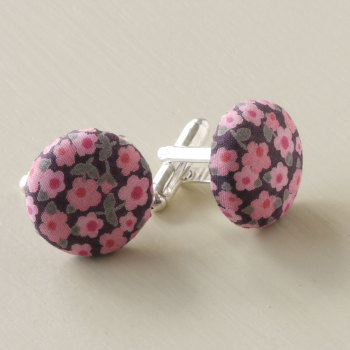 Liberty tana lawn silver plated cufflinks - Penny