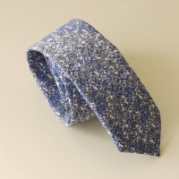 Hand stitched Liberty tana lawn tie - Douglas Stripe blue