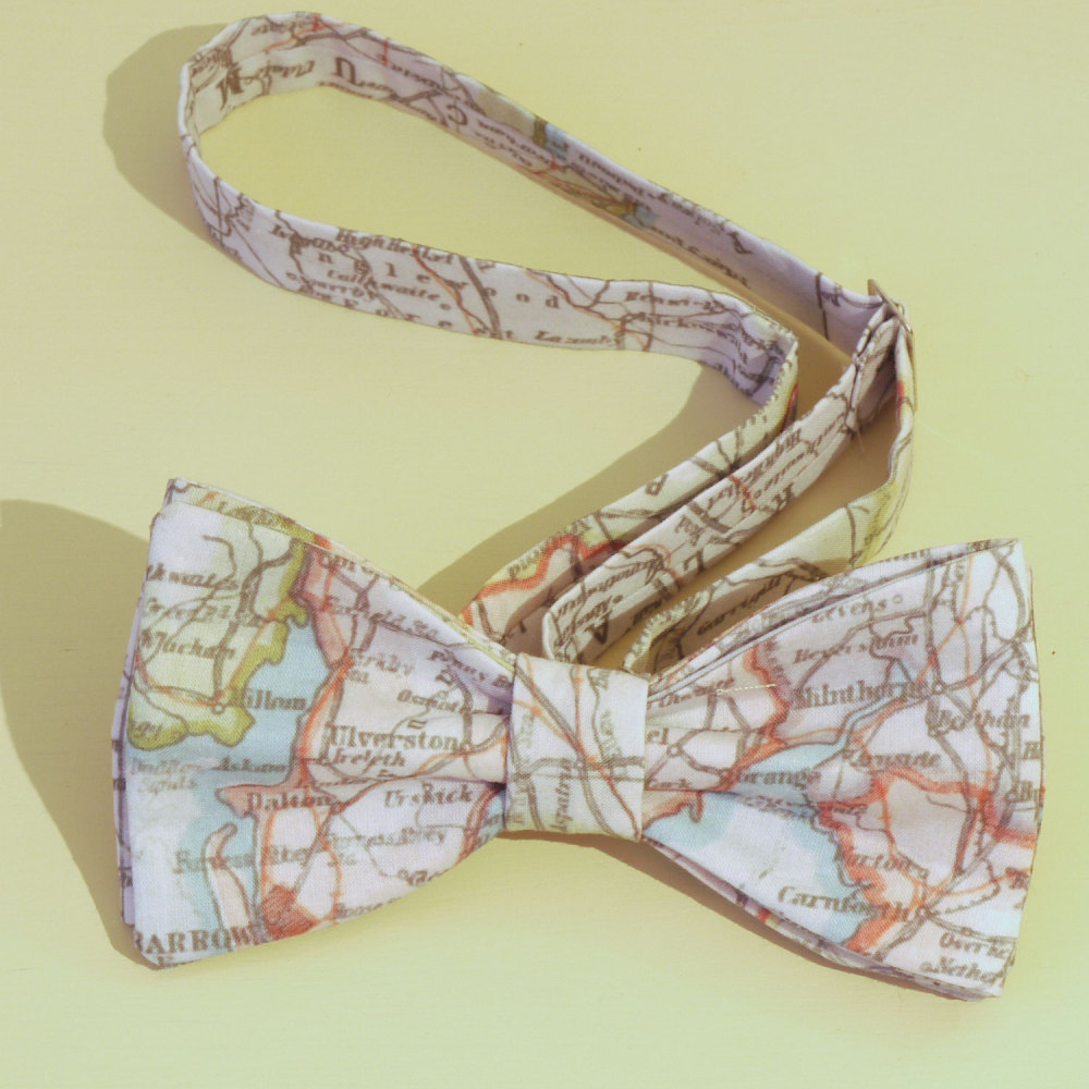 Cumbria Map Pocket Square and Bow Tie