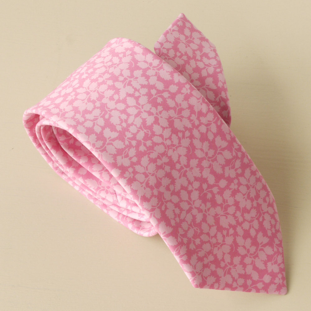 Gentleman's pink tie hand-stitched from Liberty's classic Glenjade design