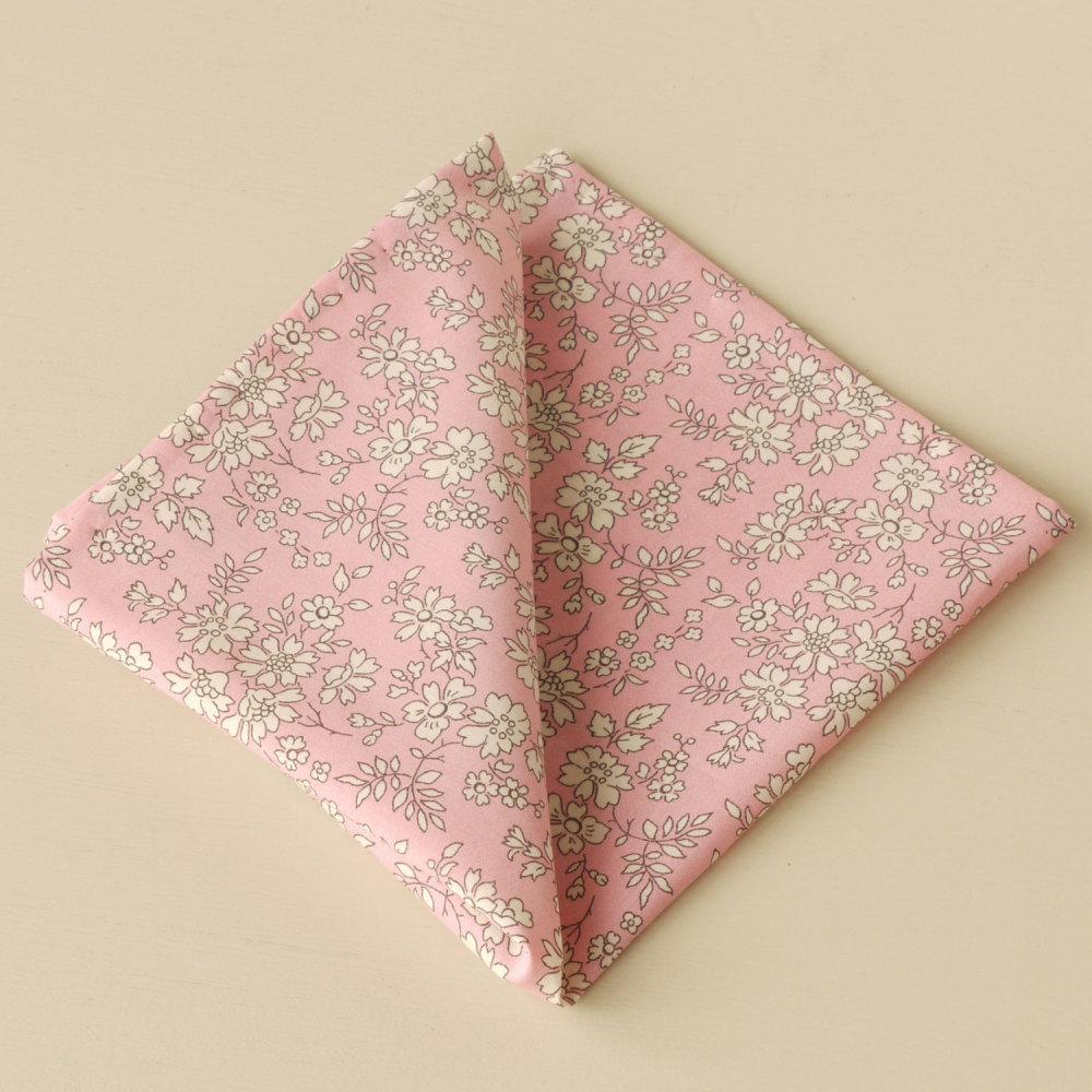 Gentleman's pink pocket square - Liberty tana lawn Capel