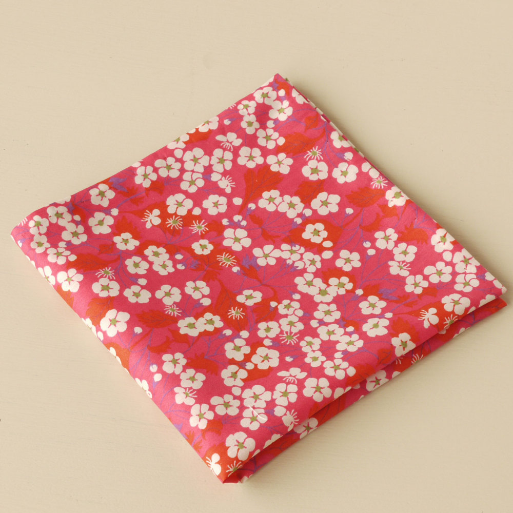 Gentleman's pink floral pocket square - Liberty tana Mitsi