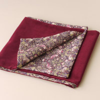 Claret velveteen and Liberty Strawberry Thief scarf