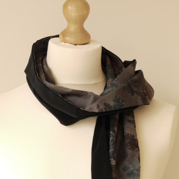 Liberty print and black velveteen scarf