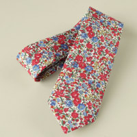Floral Liberty tana lawn tie - Emma and Georgina red and blue tie