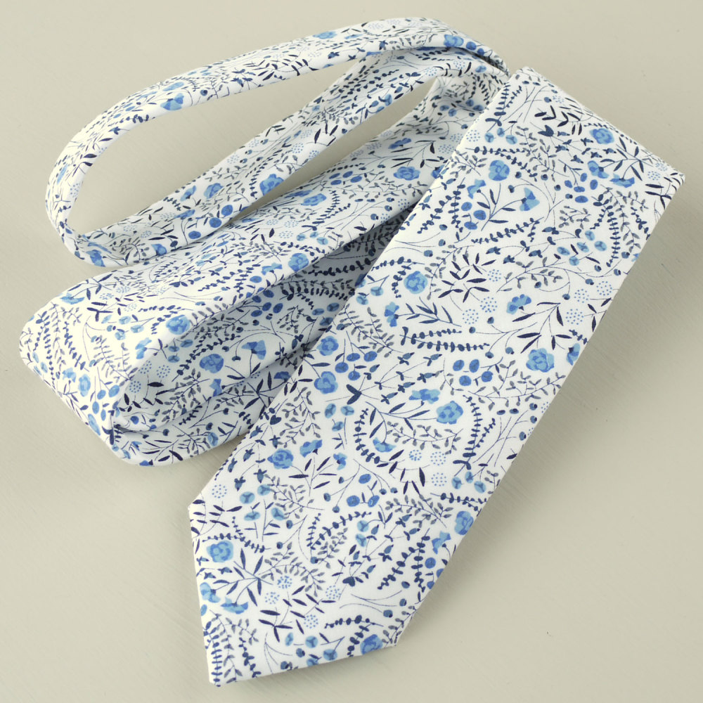 Floral handmade Liberty tana lawn tie - Lillian's Berries blue