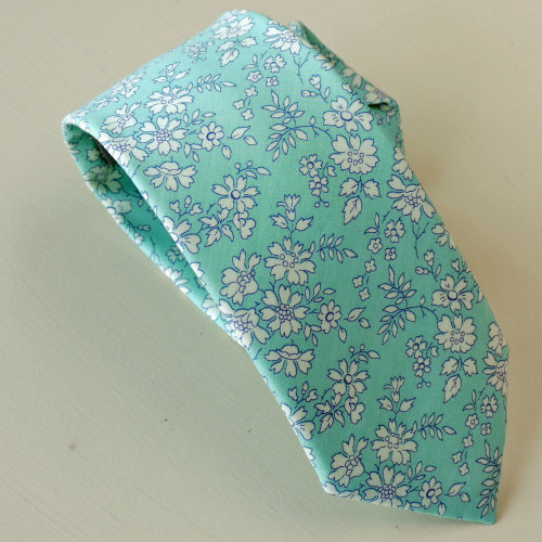 Turquoise Liberty print Capel hand-stitched gentleman's tie