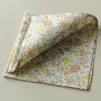 Yellow floral pocket square - Liberty tana Claire Aude
