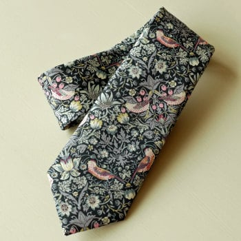 Gentleman's hand stitched tie - Strawberry Thief black
