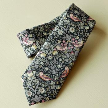 Gentleman's hand stitched tie - Strawberry Thief black