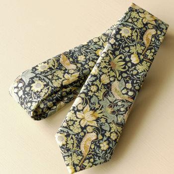 Gentleman's hand stitched tie - Strawberry Thief green