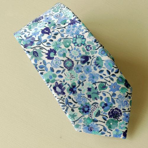 Blue floral Liberty tana lawn tie - Kaylie Sunshine blue