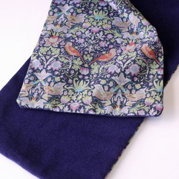 Liberty Strawberry Thief and purple velveteen Scarf