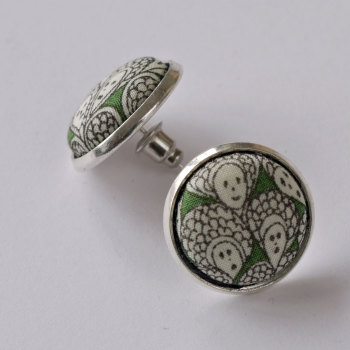 Liberty button earrings - Cranford green