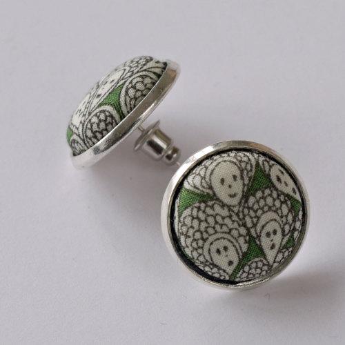 Liberty button earrings - Cranford green