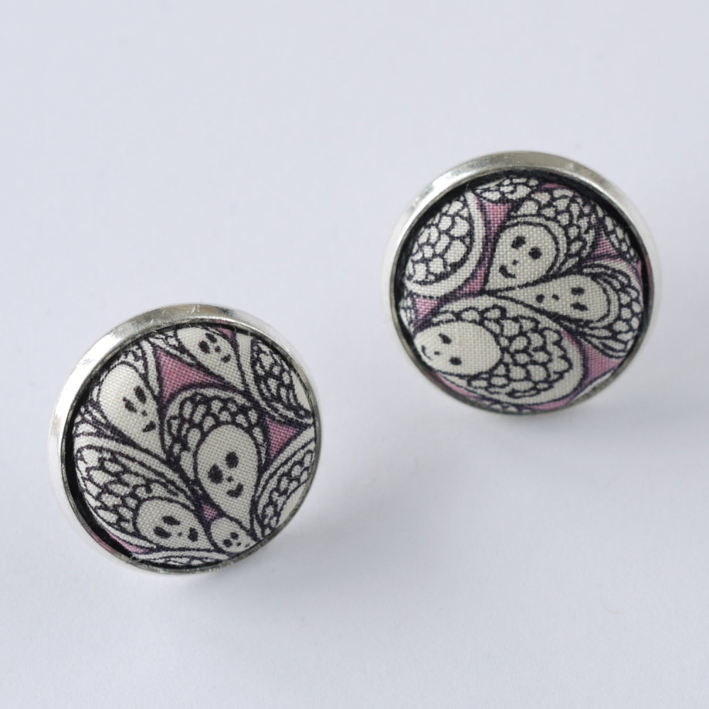 Liberty button earrings - Cranford pink