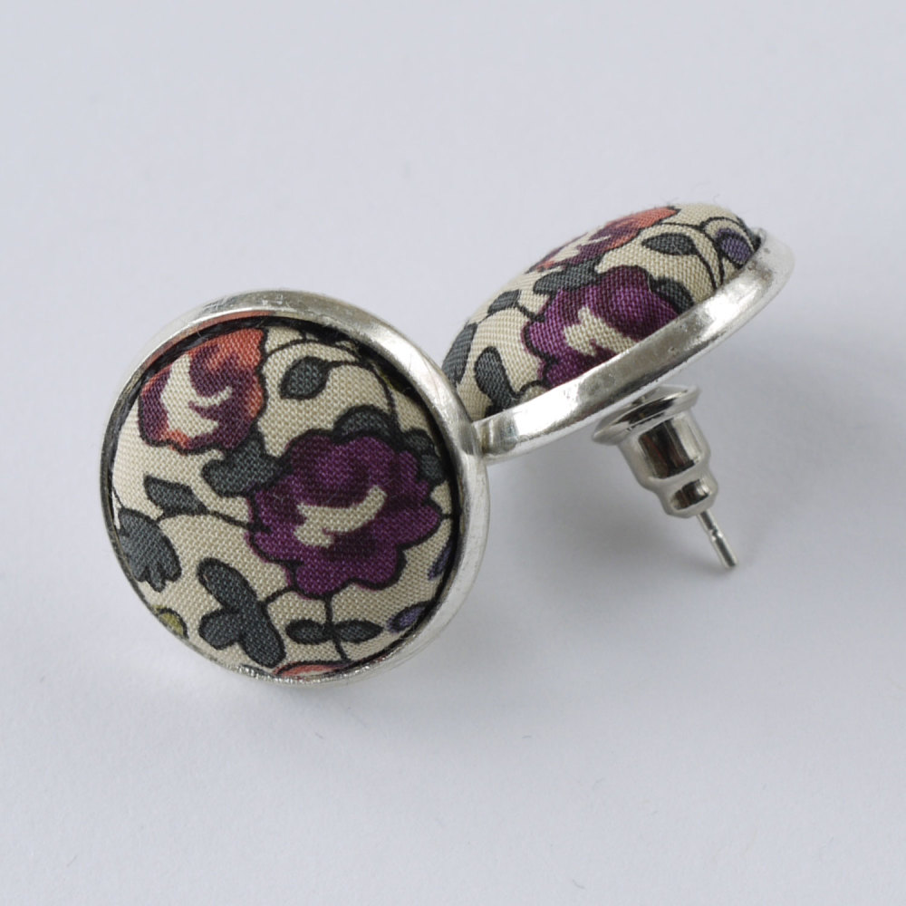 Liberty button earrings - Eloise purple