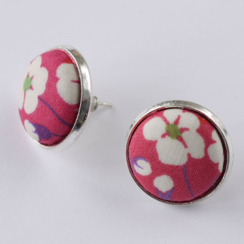 Liberty button earrings - Mitsi pink