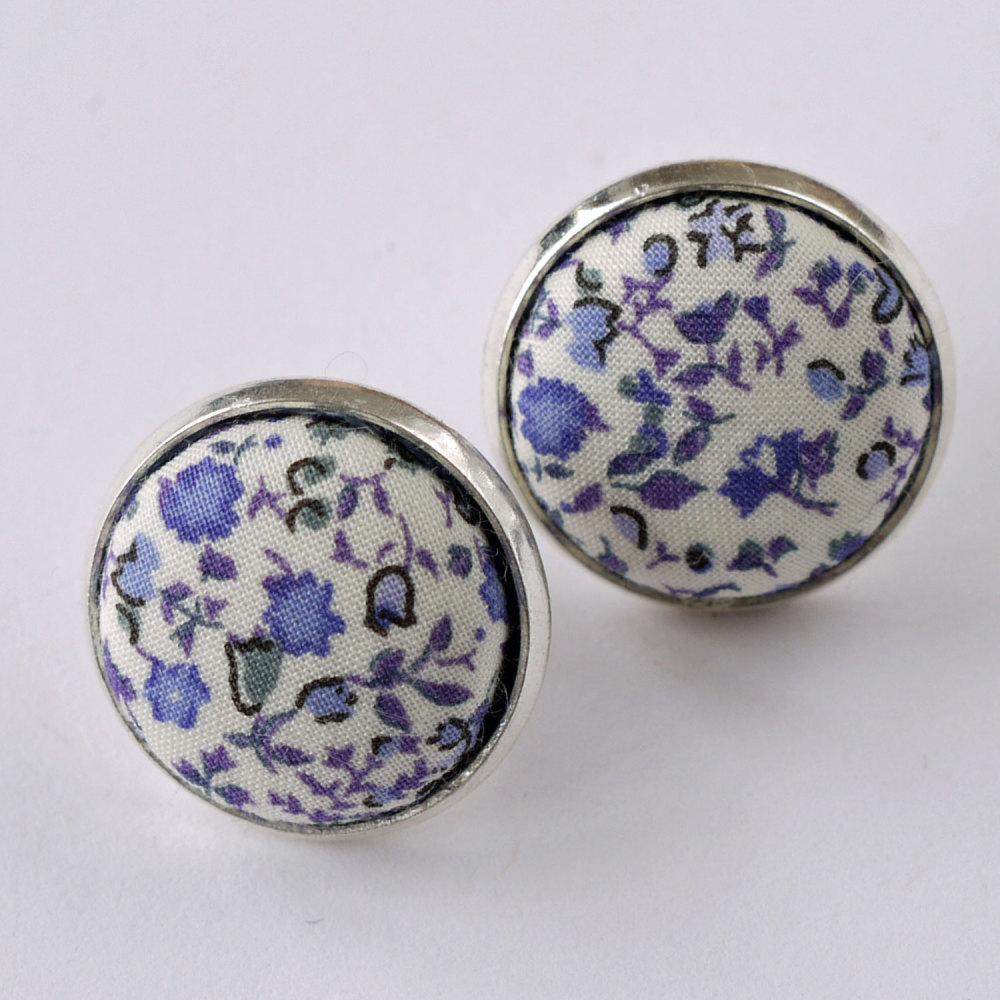 Liberty button earrings - Newland blue