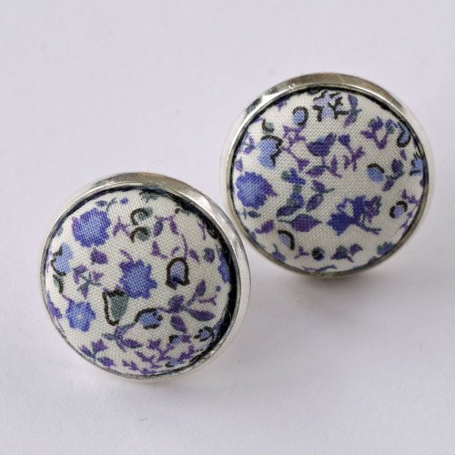 Liberty button earrings - Newland blue