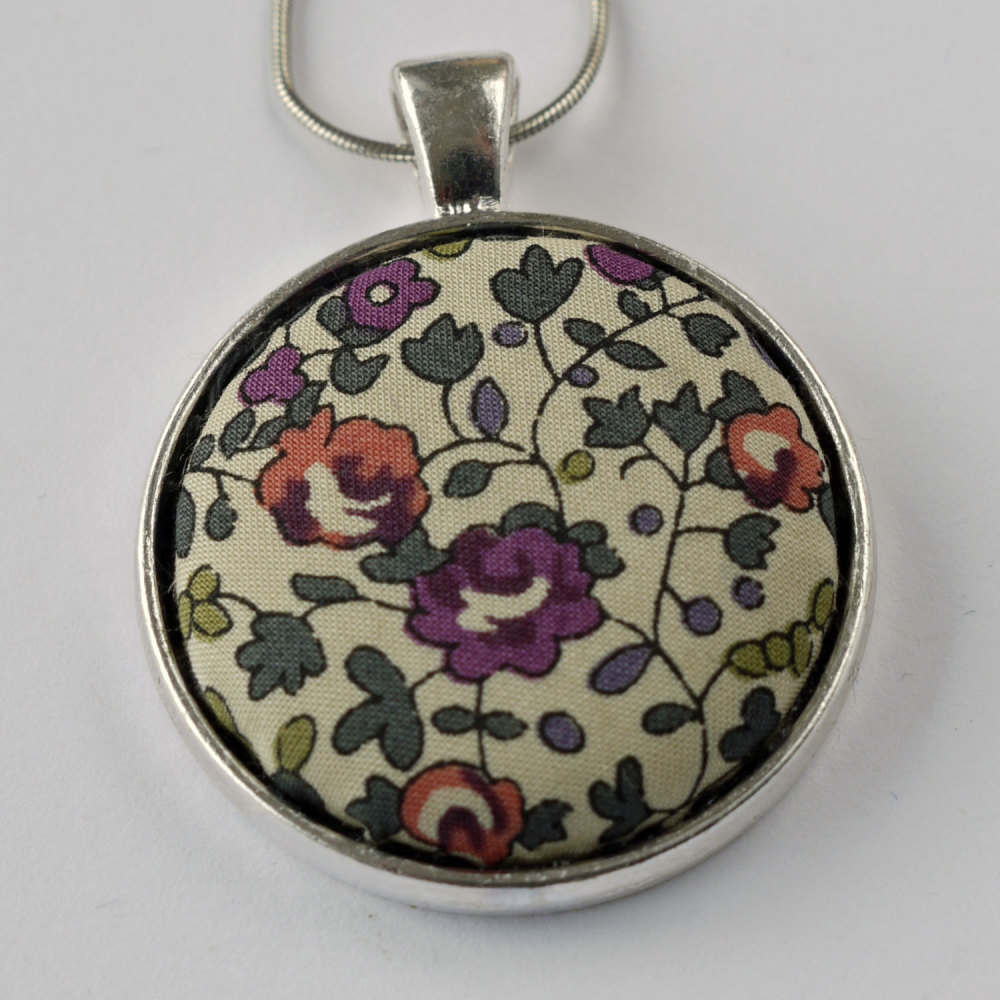 Liberty print pendant - Eloise purple
