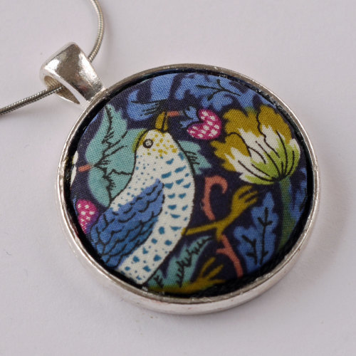 Liberty print pendant - Strawberry Thief blue