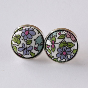 Liberty button earrings - Emilia's flowers green