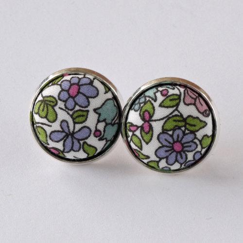 Liberty button earrings - Emilia's flowers green