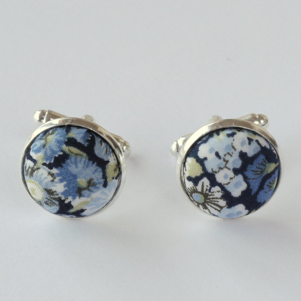 Liberty tana lawn silver plated cufflinks - Chive blue
