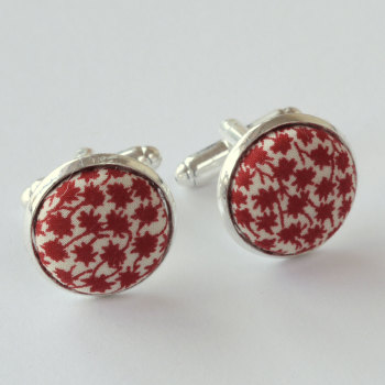 Liberty tana lawn silver plated cufflinks - Marco red