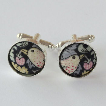 Liberty Strawberry Thief black silver plated cuff links