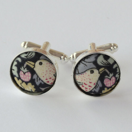 Liberty Strawberry Thief grey silver plated cuff links