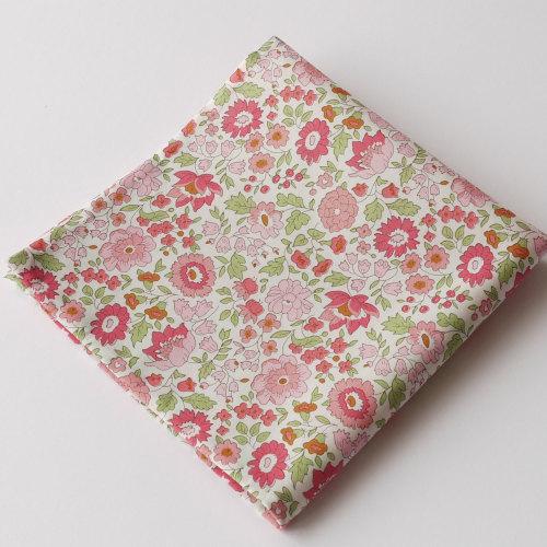 Liberty print floral pocket square - D'Anjo pink and green