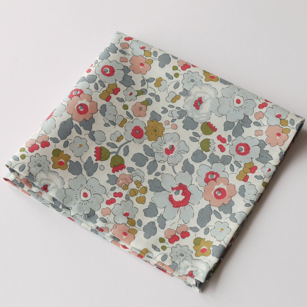 Grey floral pocket square - Liberty tana lawn Betsy