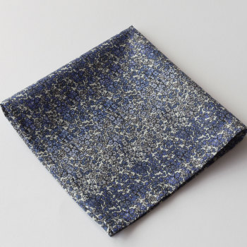 Blue floral pocket square - Liberty tana lawn Douglas Stripe