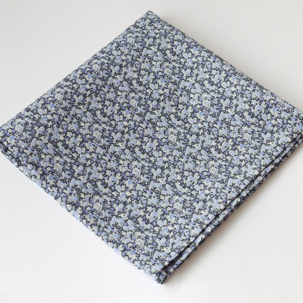 Mens pocket square - Liberty tana lawn Pepper blue